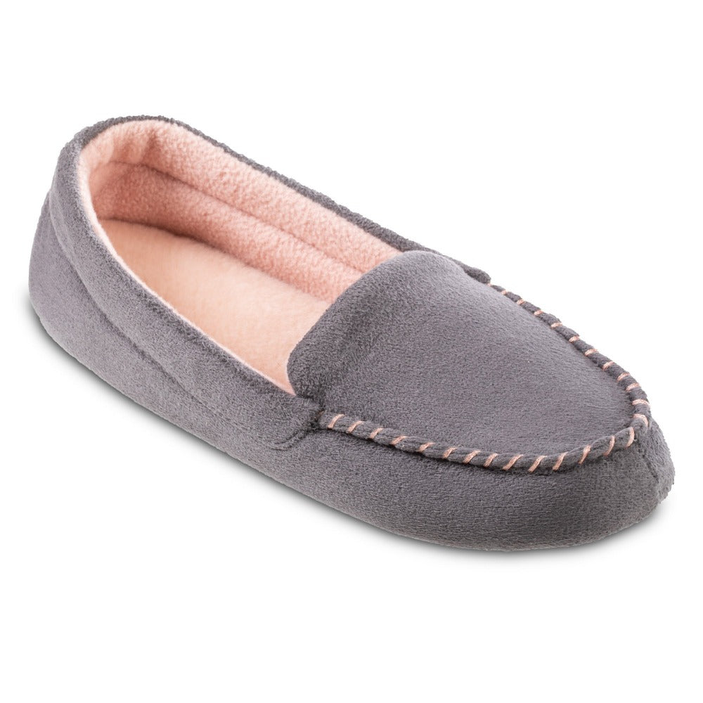 Women's Microsuede Noela Moccasin Slippers in Ash Right Angled View