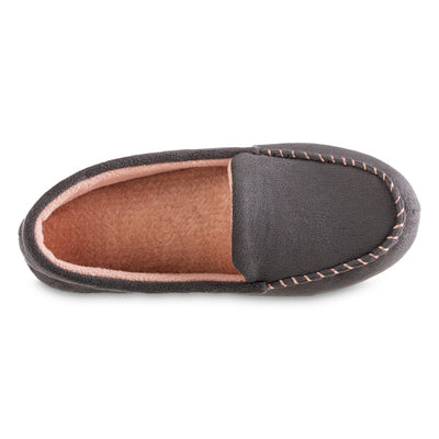 Women's Microsuede Noela Moccasin Slippers in Ash Inside Top View