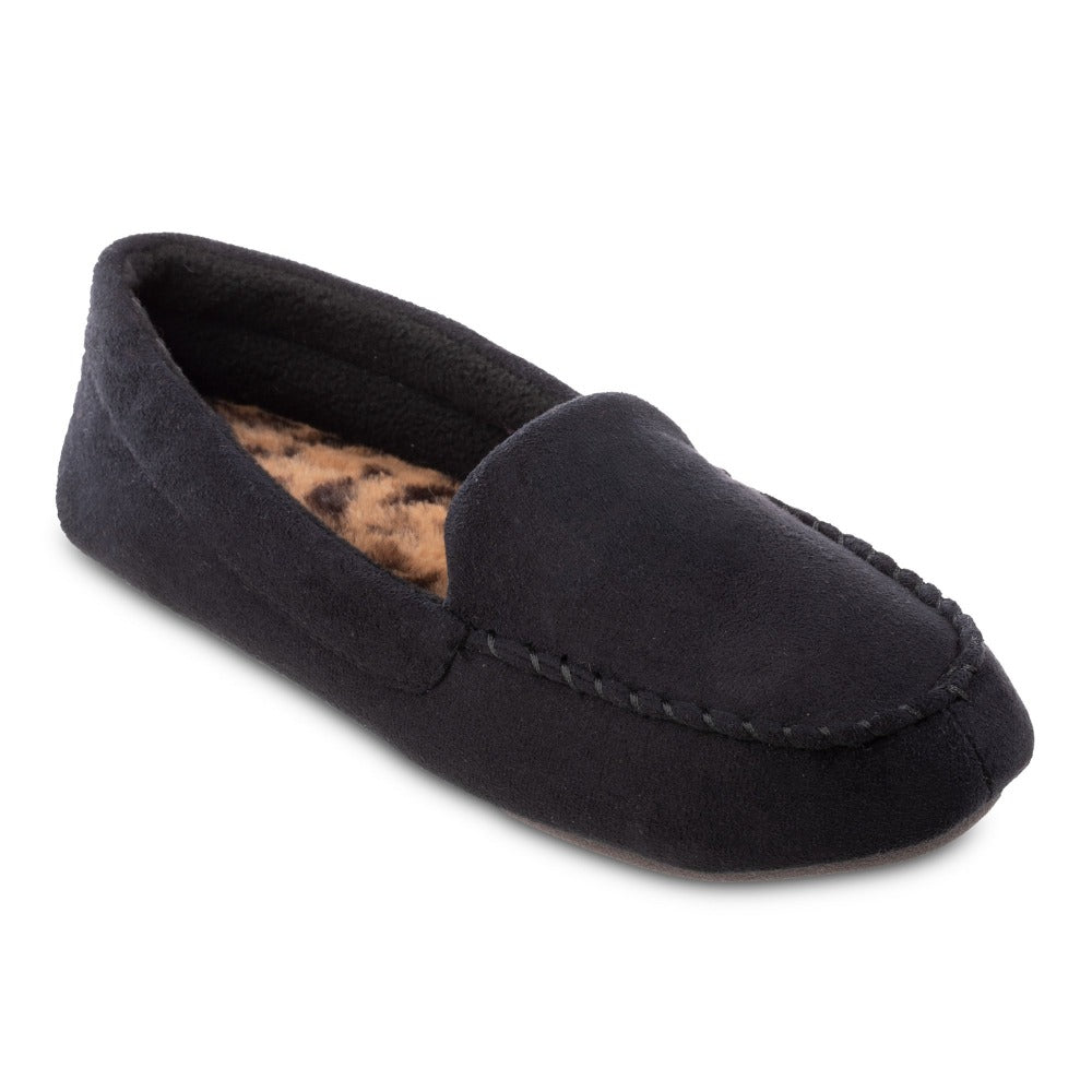 Women's Microsuede Noela Moccasin Slippers in Black Right Angled View