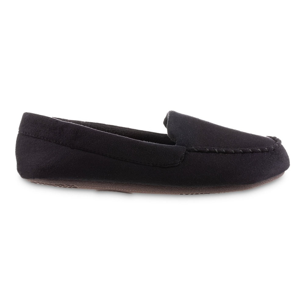 Women's Microsuede Noela Moccasin Slippers in Black Profile