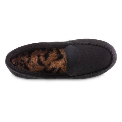 Women's Microsuede Noela Moccasin Slippers in Black Inside Top View