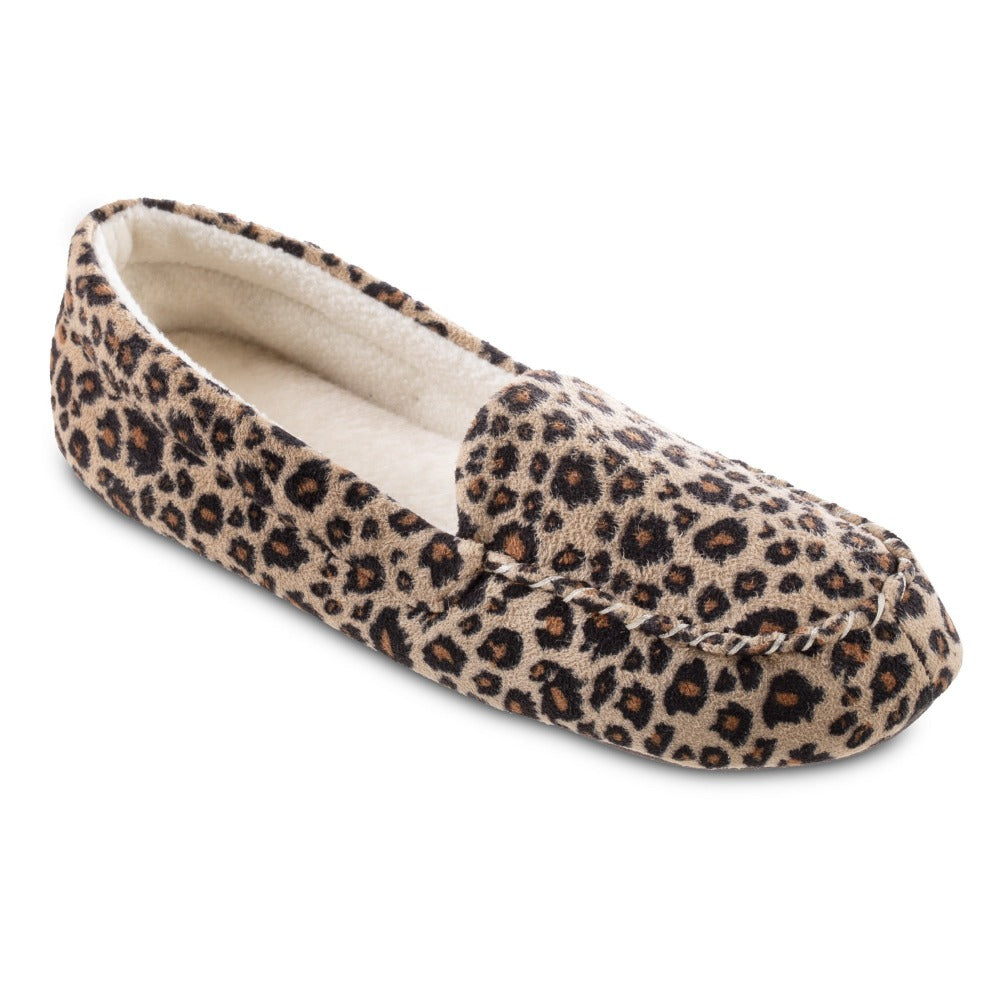 Women's Microsuede Noela Moccasin Slippers in Cheetah Right Angled View