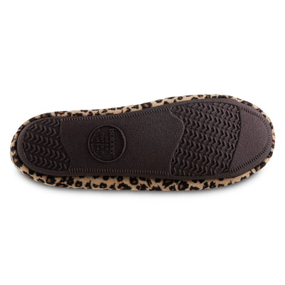 Women's Microsuede Noela Moccasin Slippers in Cheetah Bottom Sole Tread