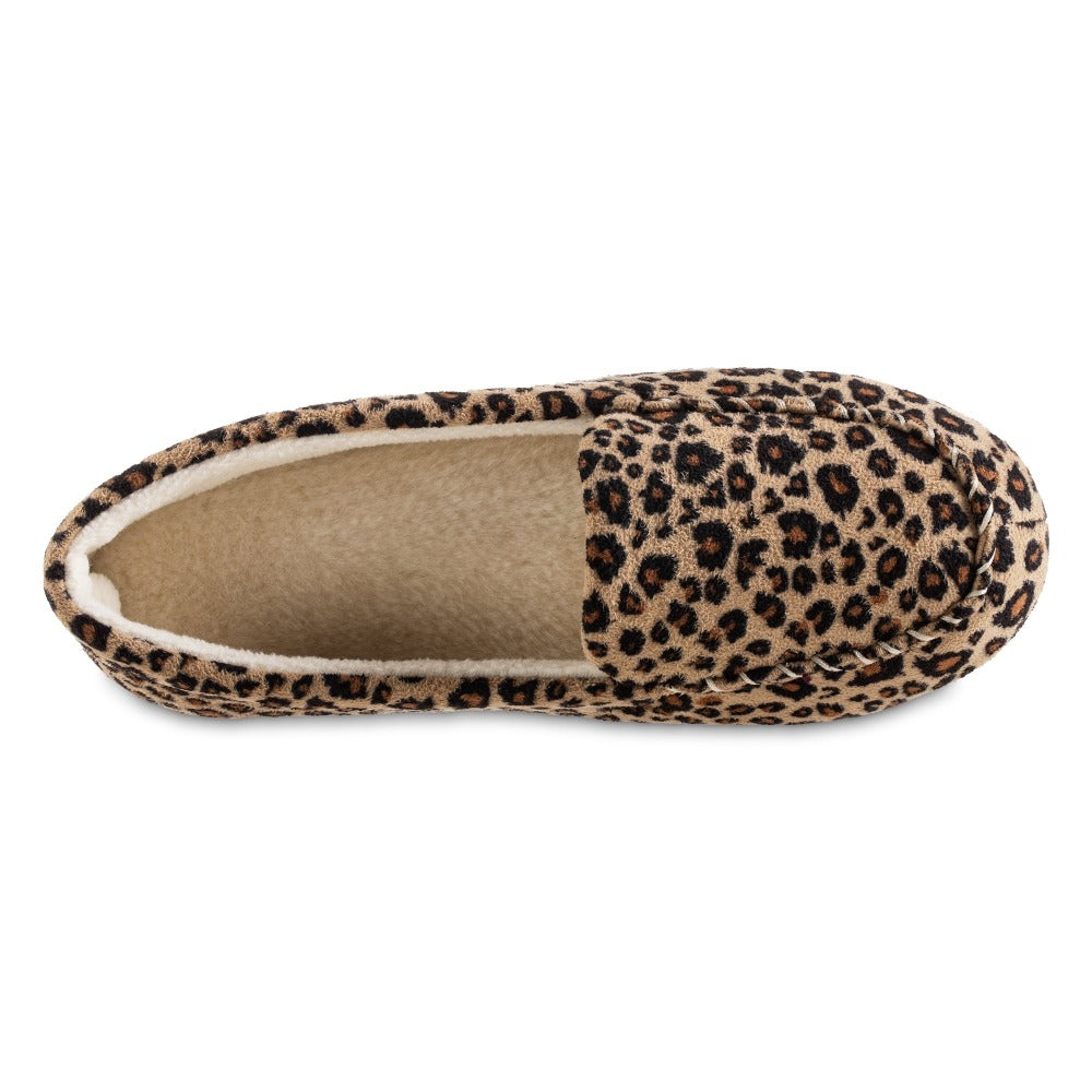 Women's Microsuede Noela Moccasin Slippers in Cheetah Inside Top View