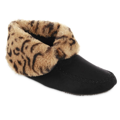 Women's Microsuede Noela Boot Slippers in Black with Cheetah Print Cuff Right Angled View