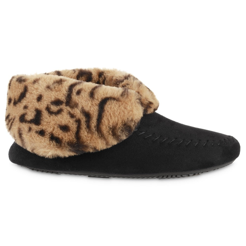 Women's Microsuede Noela Boot Slippers in Black with Cheetah Print Cuff Profile