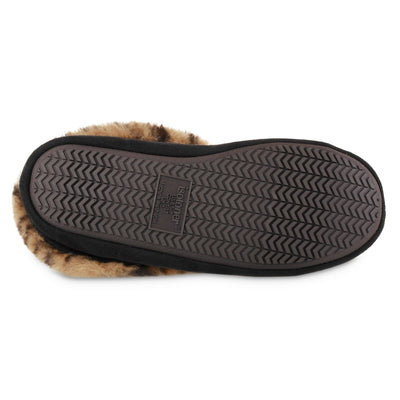 Women's Microsuede Noela Boot Slippers in Black with Cheetah Print Cuff Back Heel