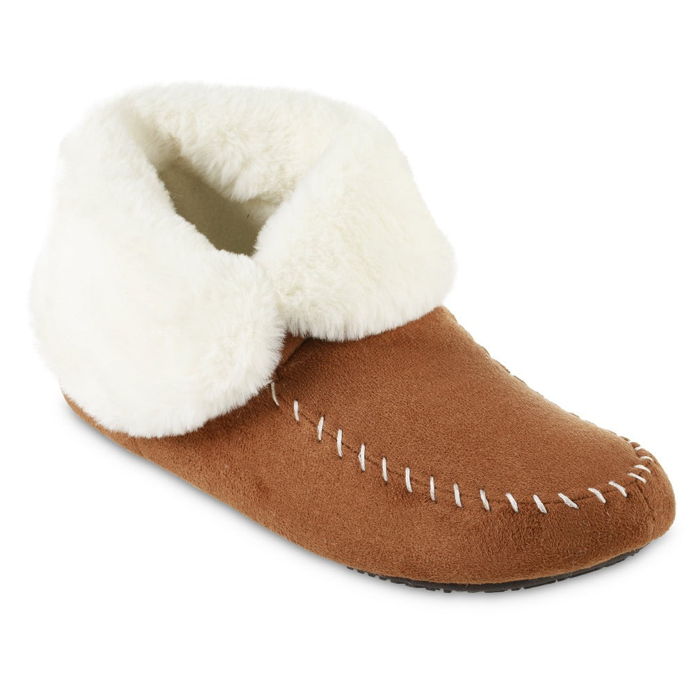 Women's Microsuede Noela Boot Slippers in Cognac with White Faux Fur Cuff Right Angled View