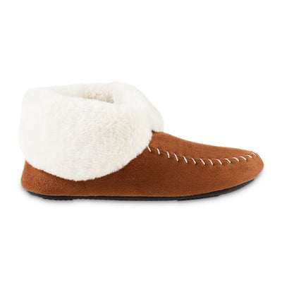 Women's Microsuede Noela Boot Slippers in Cognac with White Faux Fur Cuff Profile