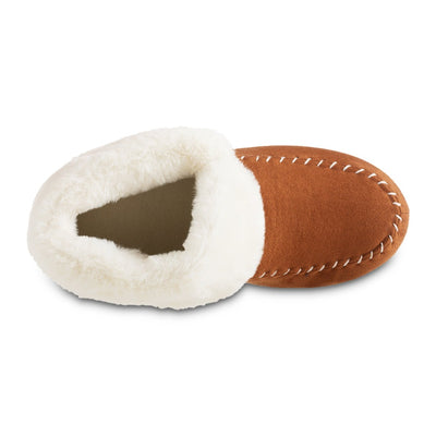 Women's Microsuede Noela Boot Slippers in Cognac with White Faux Fur Cuff Inside Top View