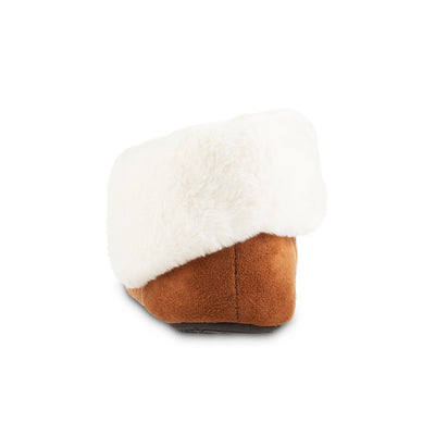 Women's Microsuede Noela Boot Slippers in Cognac with White Faux Fur Cuff Back Heel