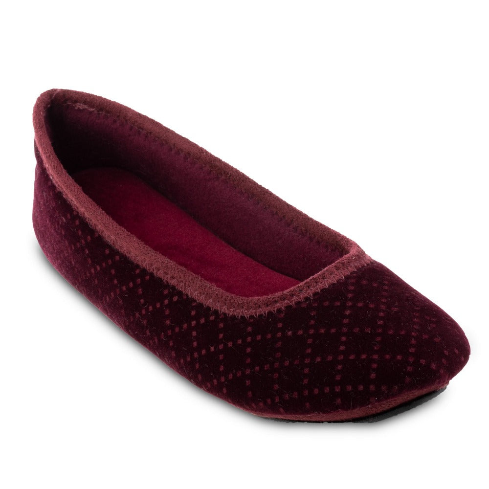 Women's Memory Foam Velour Sabrine Ballerina Slippers in Henna Maroon Right Angled View