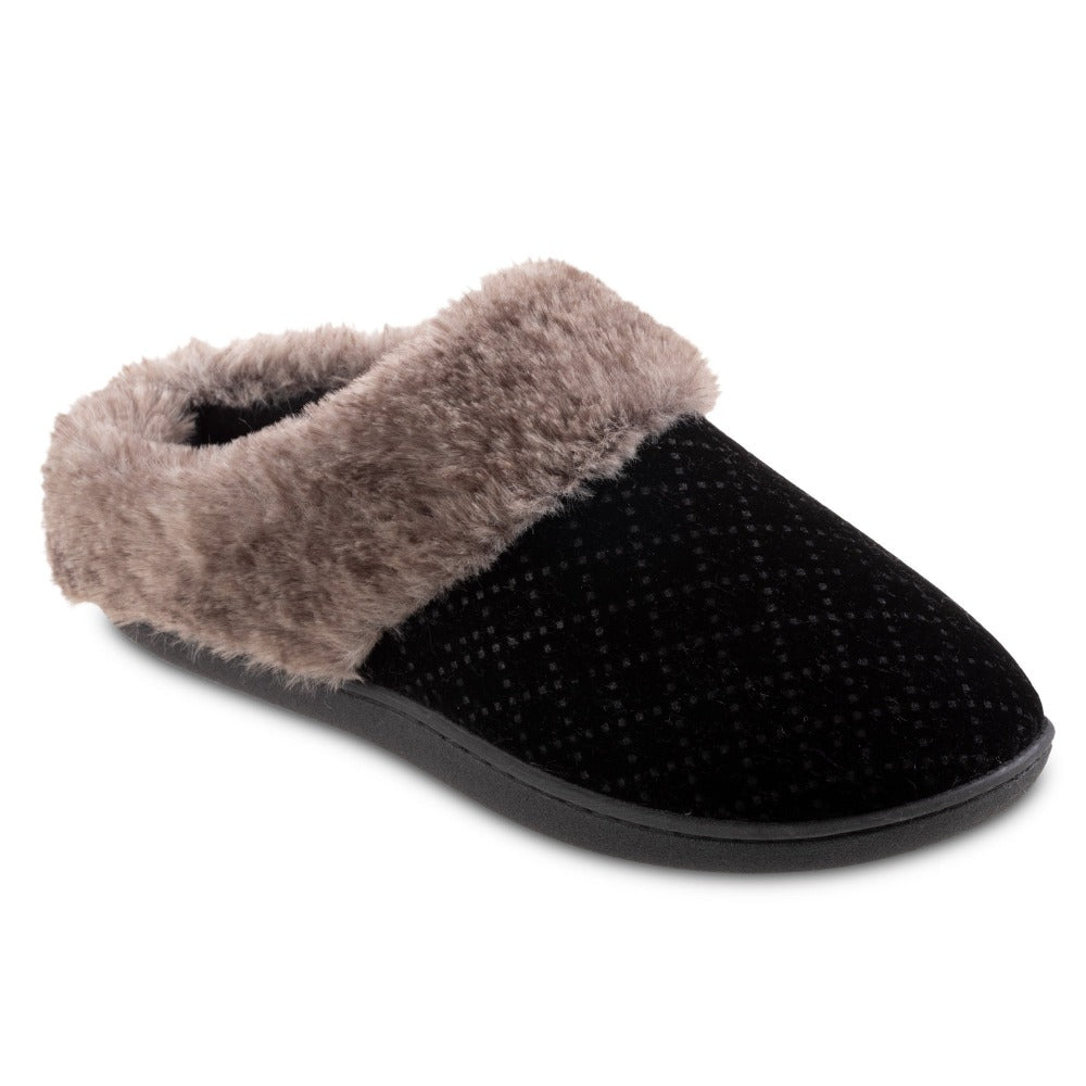 Women's Velour Sabrine Hoodback Slippers in Black Right Angled View
