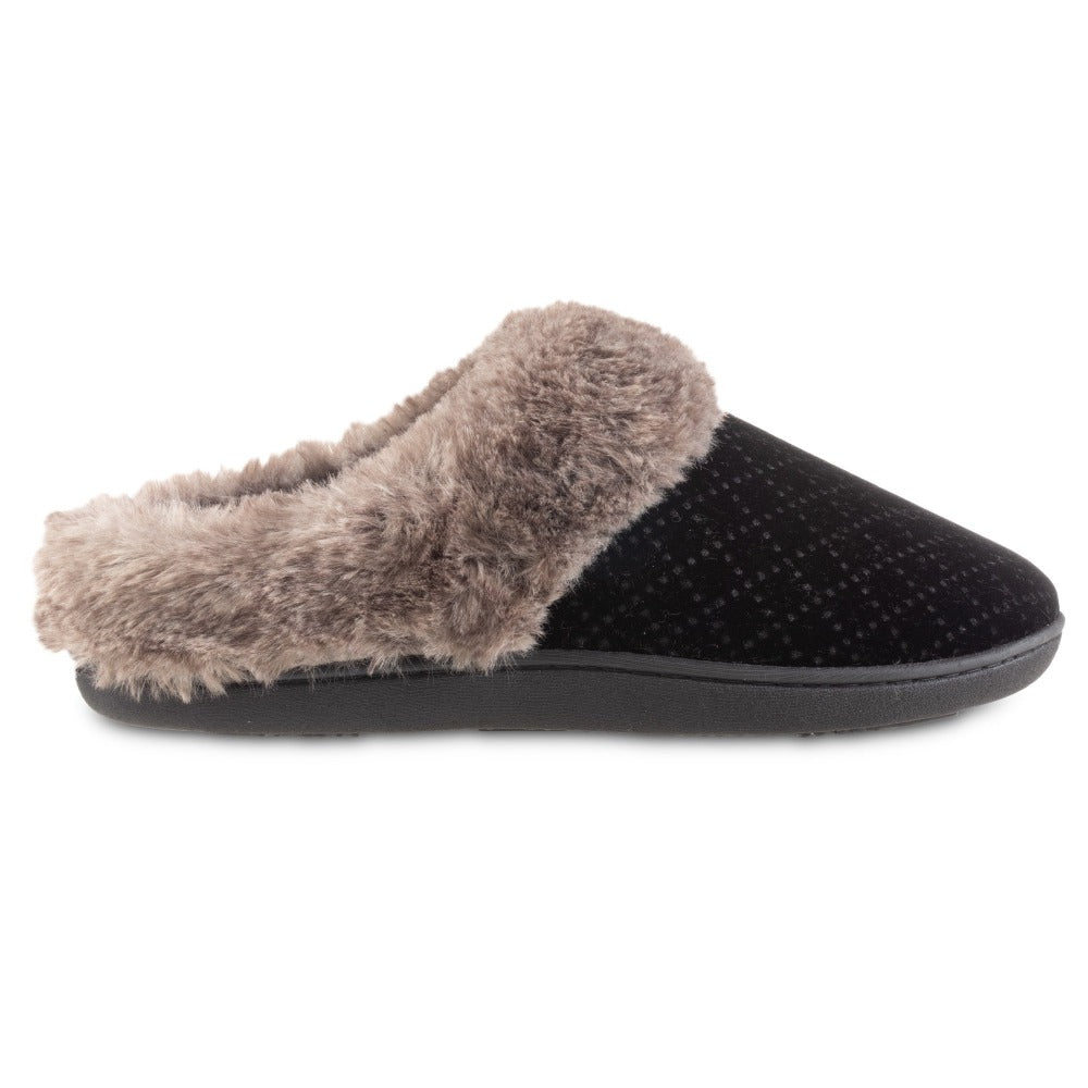 Women's Velour Sabrine Hoodback Slippers in Black Profile