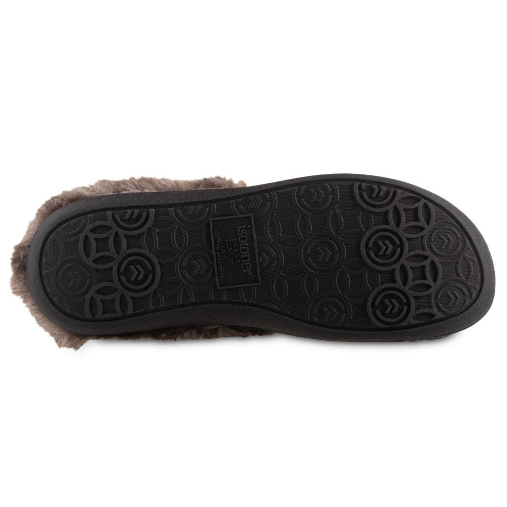 Women's Velour Sabrine Hoodback Slippers in Black Bottom Sole Tread