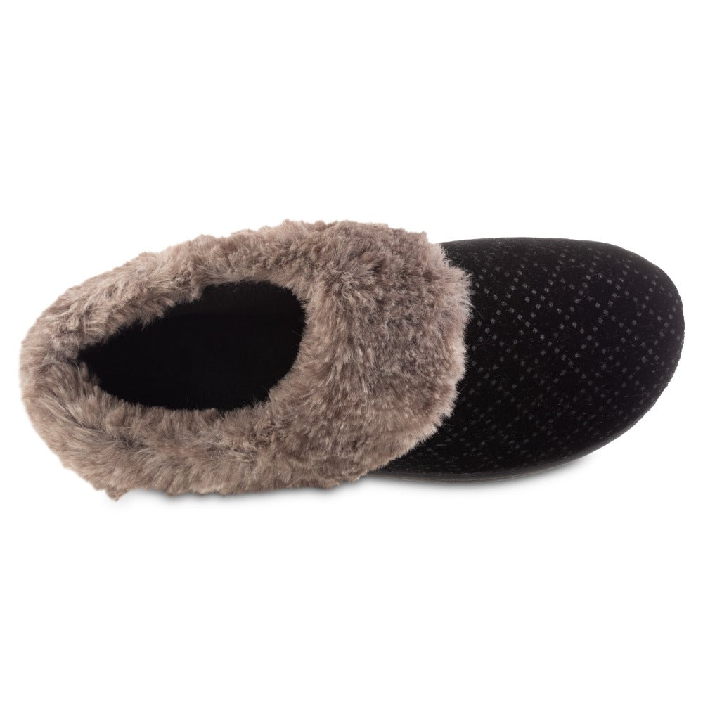 Women's Velour Sabrine Hoodback Slippers in Black Inside Top VIew