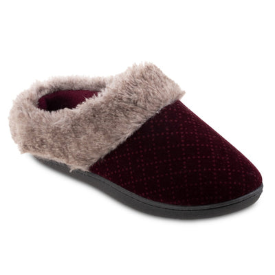 Women's Velour Sabrine Hoodback Slippers in Henna Maroon Right Angled View