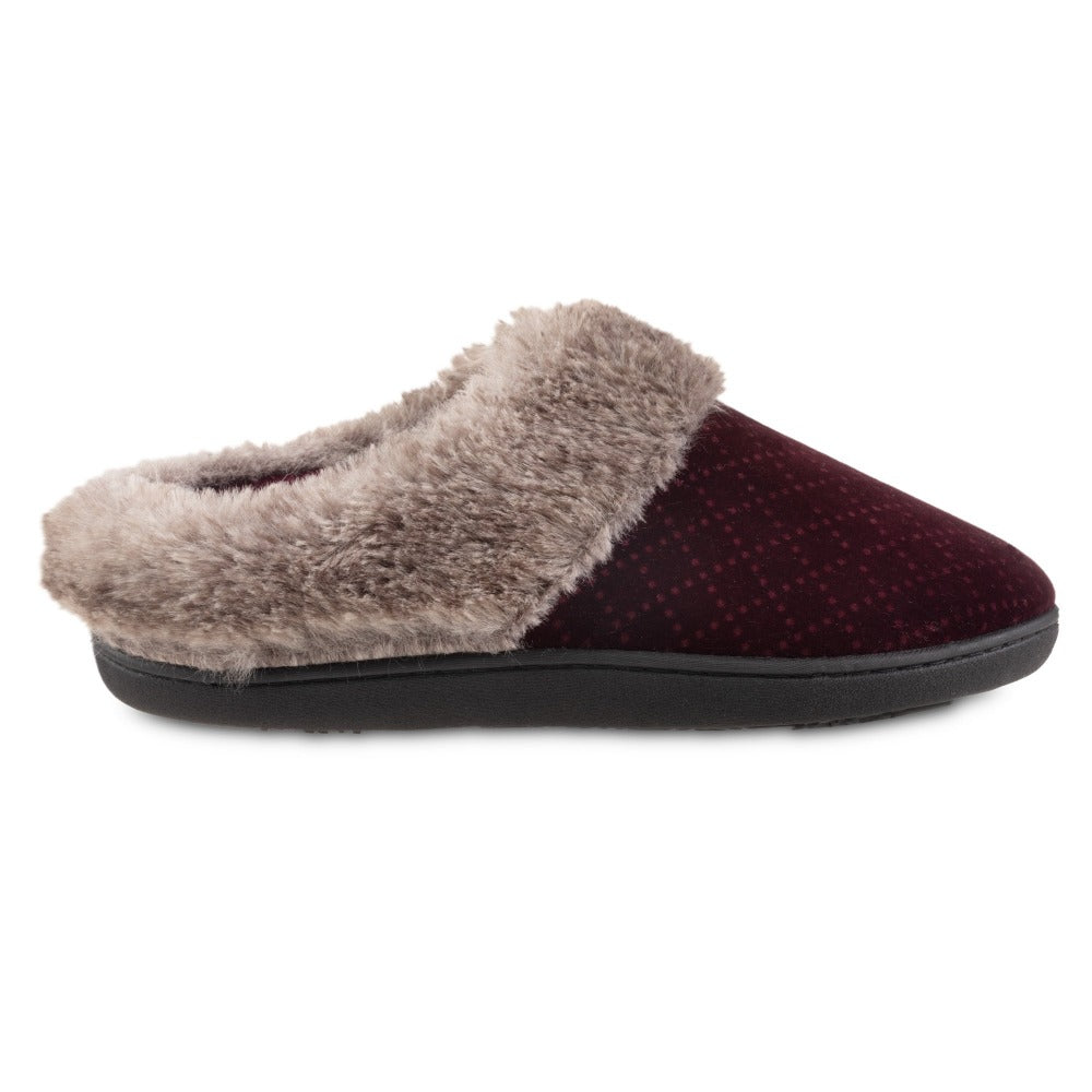 Women's Velour Sabrine Hoodback Slippers in Henna Maroon Profile