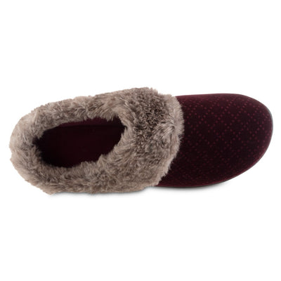 Women's Velour Sabrine Hoodback Slippers in Henna Maroon Inside Top VIew