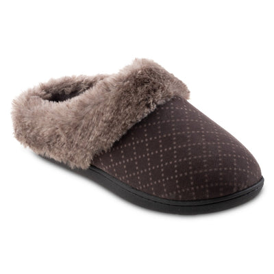 Women's Velour Sabrine Hoodback Slippers in Mineral Right Angled View