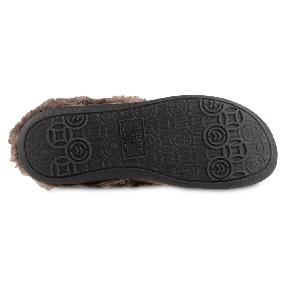 Women's Velour Sabrine Hoodback Slippers in Mineral Bottom Sole Tread