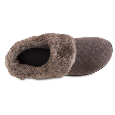 Women's Velour Sabrine Hoodback Slippers in Mineral Inside Top VIew