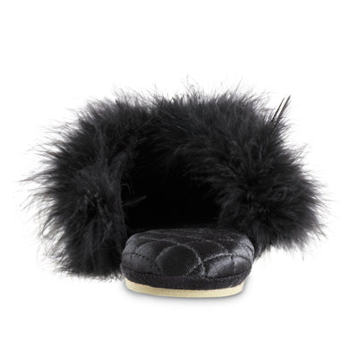 Women's Feather Sofia Scuff Slippers in Black Back View