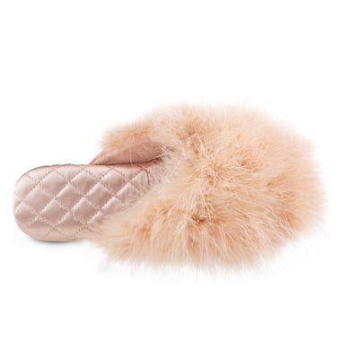 Women's Feather Sofia Scuff Slippers in Evening Sand Pink Top Inside View