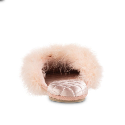 Women's Feather Sofia Scuff Slippers in Evening Sand Pink Back Heel View