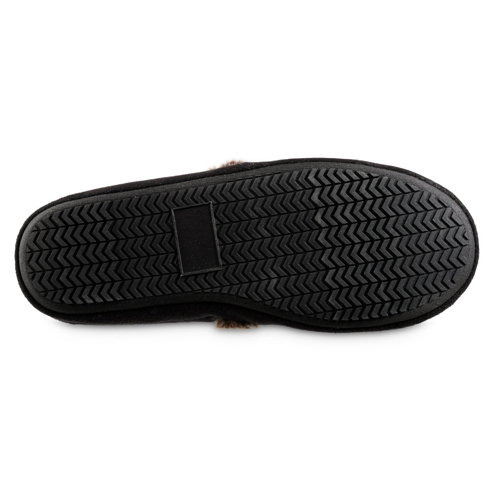 Women's Recycled Microsuede A Line Slippers in Black Bottom Sole Tread