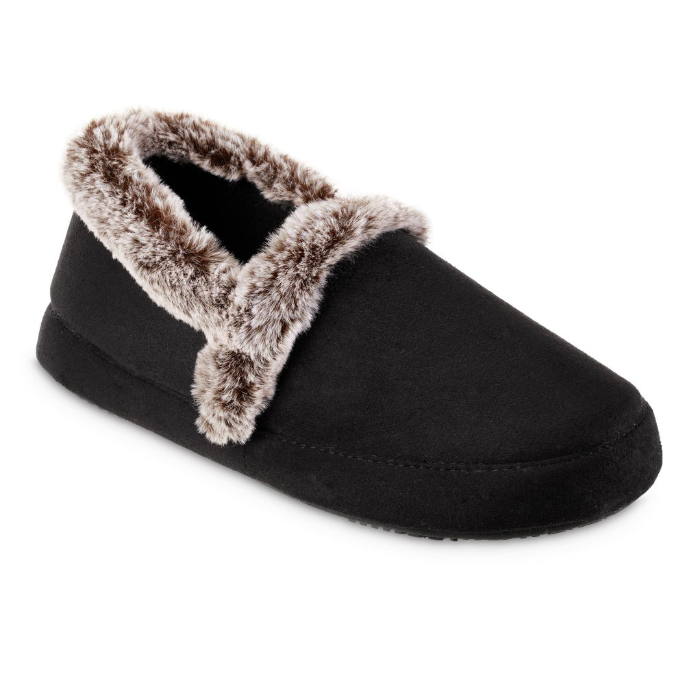 Women's Recycled Microsuede A Line Slippers in Black Right Angled View