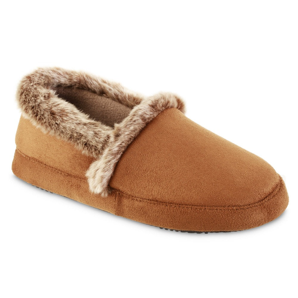 Women's Recycled Microsuede A Line Slippers in Cognac Right Angled View