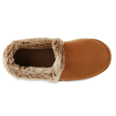 Women's Recycled Microsuede A Line Slippers in Cognac Inside Top View
