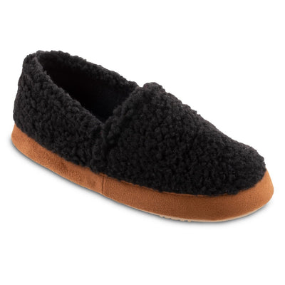 Women's Recycled Fur Moccasin Slippers in Black Right Angled View