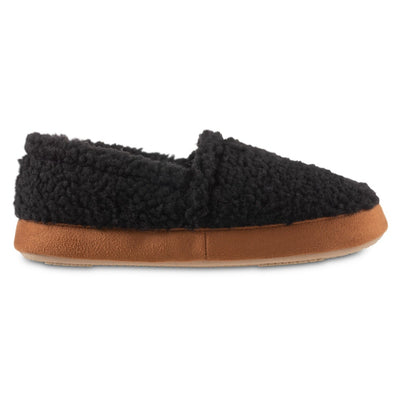 Women's Recycled Fur Moccasin Slippers in Black Profile