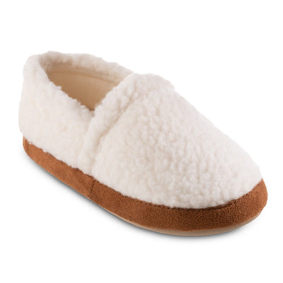 Women's Recycled Fur Moccasin Slippers in Ewe Right Angled View
