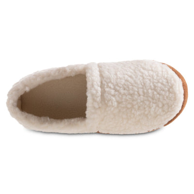 Women's Recycled Fur Moccasin Slippers in Ewe Top Inside View