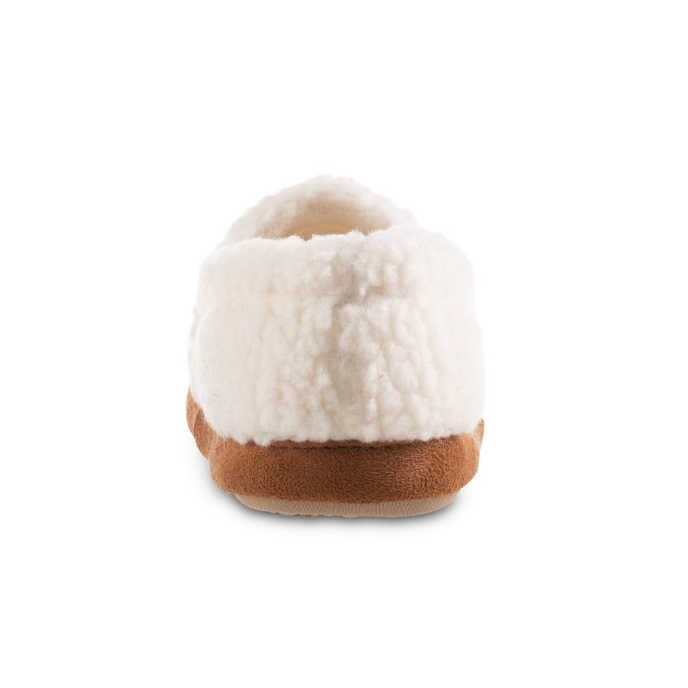 Women's Recycled Fur Moccasin Slippers in Ewe Back Heel View