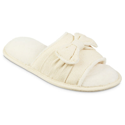 Women's Recycled Woven Petunia Slide Slipper in Ewe Off-White Right Angled View