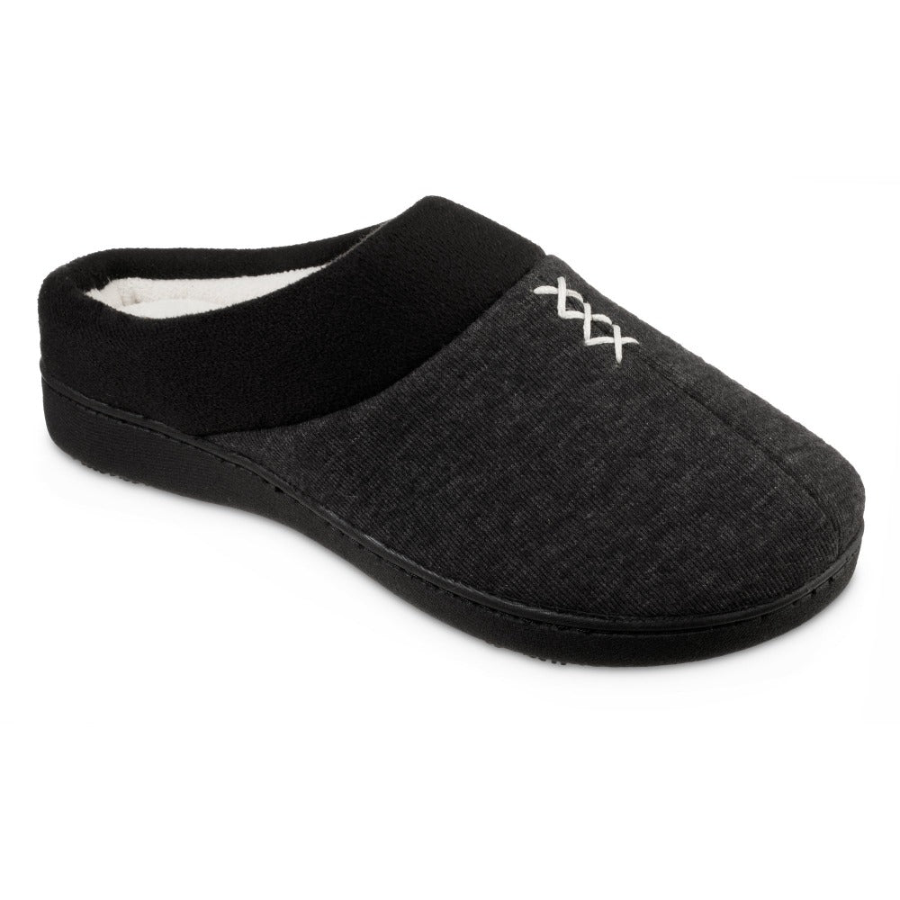 Women's Recycled Heathered Knit Raquel Hoodback Slippers in Black Right Angled View