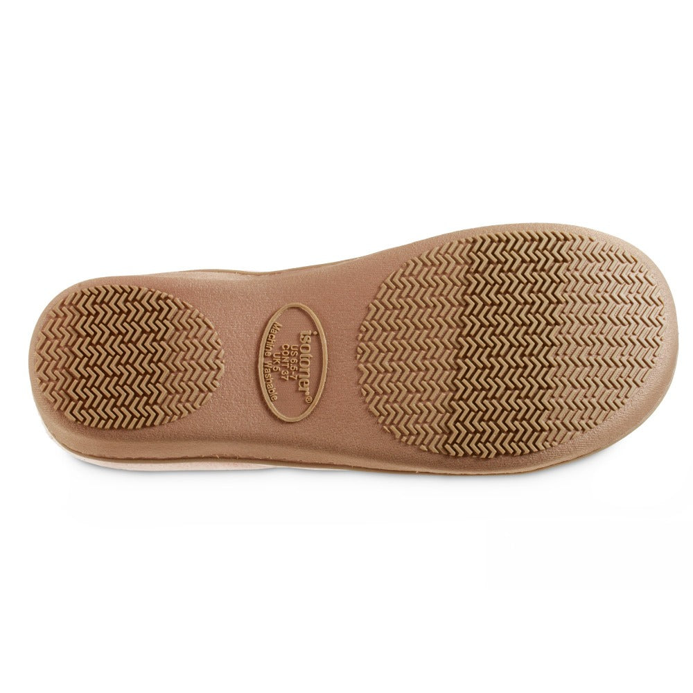 Women's Recycled Heathered Knit Raquel Hoodback Slippers in Evening Sands Pink Bottom Sole Tread