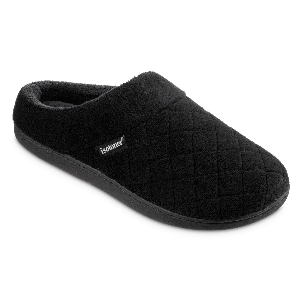 Women's Microterry Milly Hoodback Slippers in Black Right Angled View
