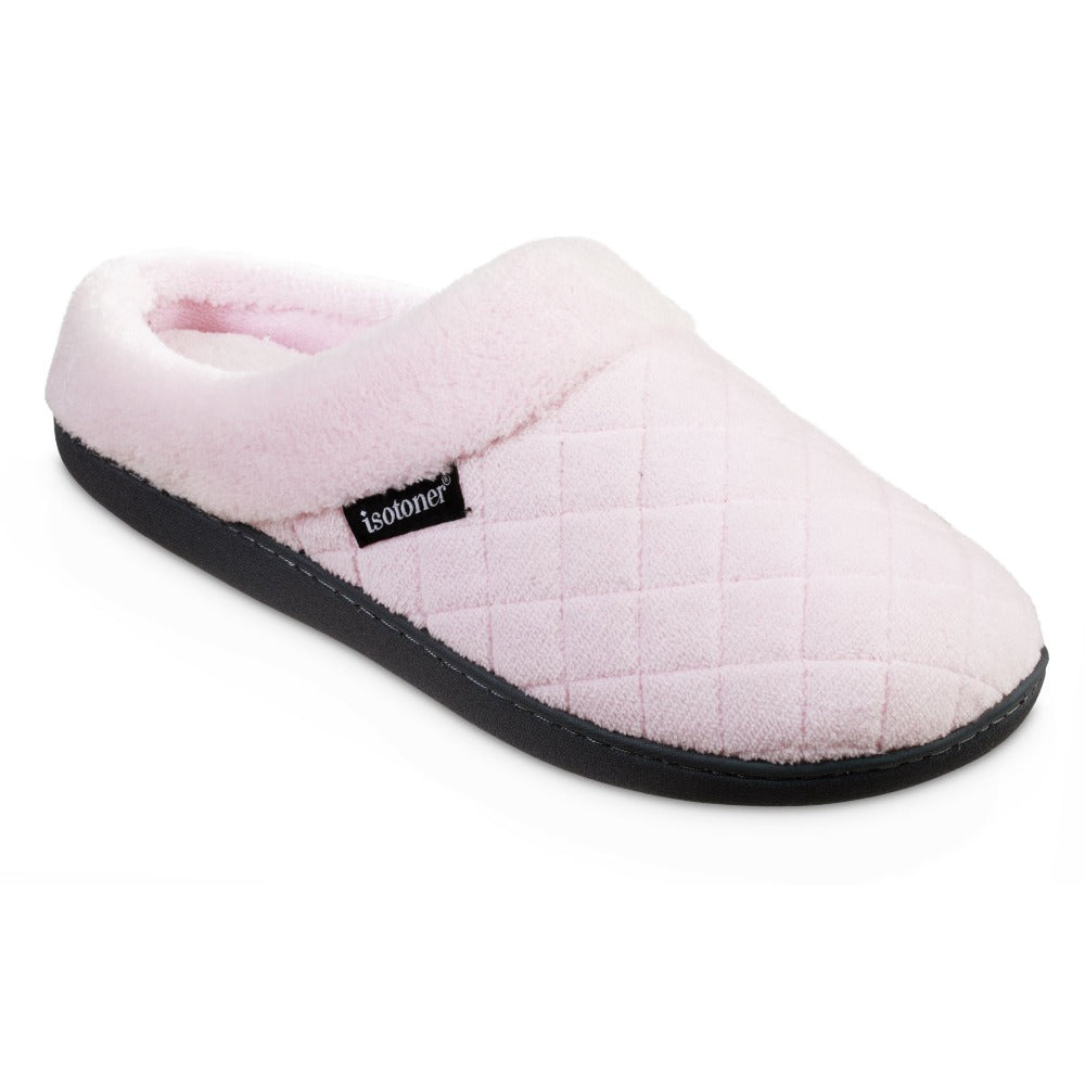Women's Microterry Milly Hoodback Slippers in Peony Light Pink Right Angled View