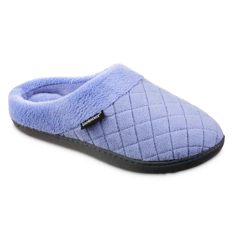 Women's Microterry Milly Hoodback Slippers in Periwinkle Blue Right Angled View