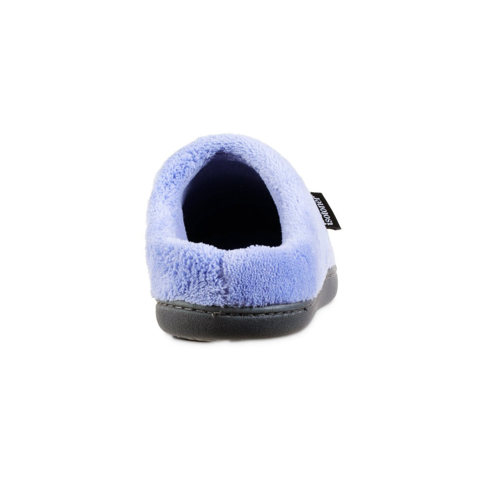 Women's Microterry Milly Hoodback Slippers in Periwinkle Blue Back Heel
