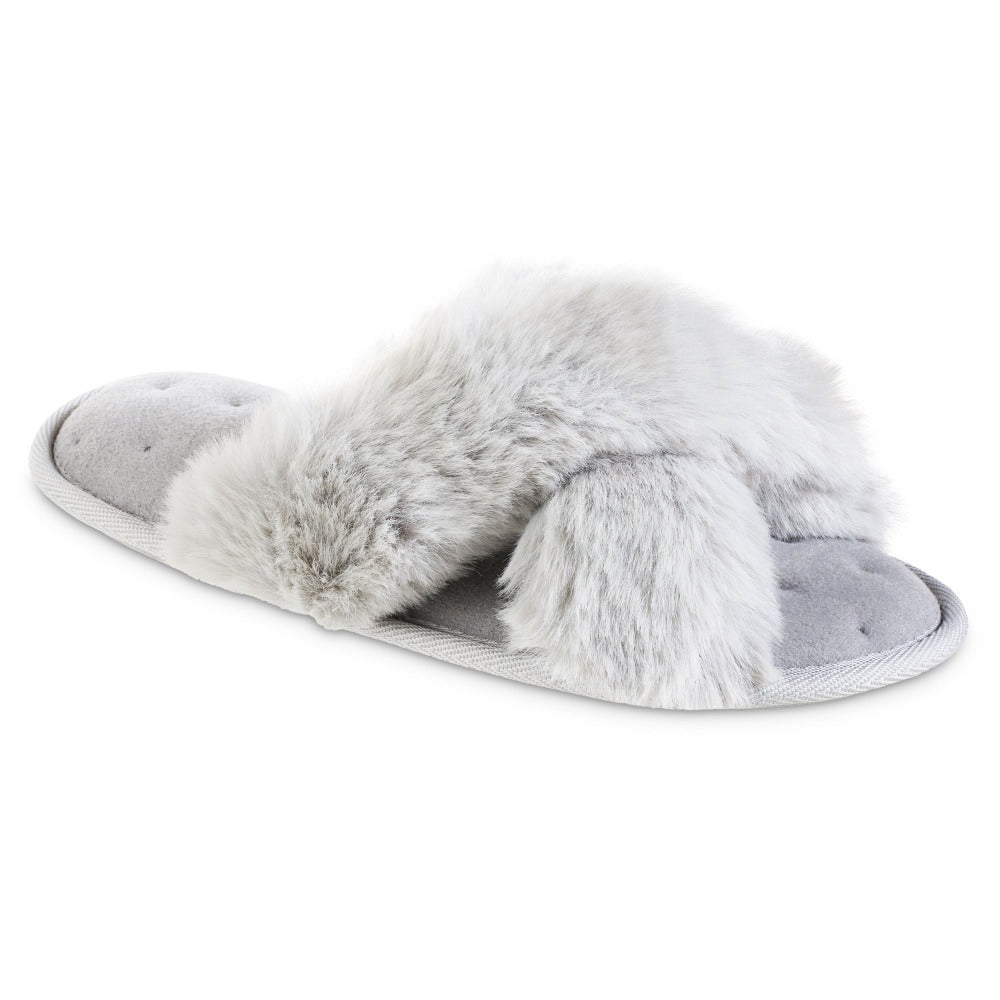 Women's Faux Fur X-Slide Slippers in Light Grey Right Angled View