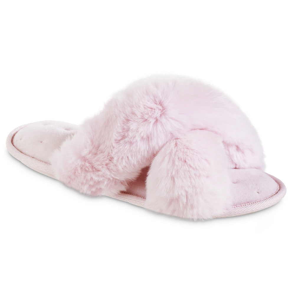 Women's Faux Fur X-Slide Slippers in Peony Pink Right Angled View