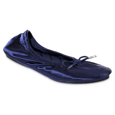 Women's Sloan Printed Ballerina Slippers in Navy Blue Right Angled View