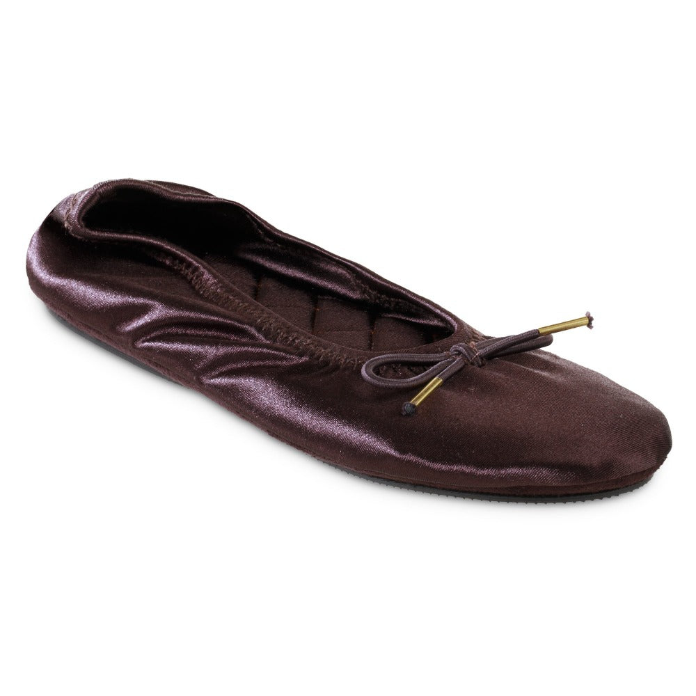 Women's Sloan Printed Ballerina Slippers in Raisin/Dark Maroon Right Angled View