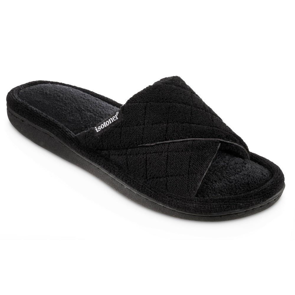 Women's Diamond Quilted Microterry Slide Slippers in Black Right Angled View
